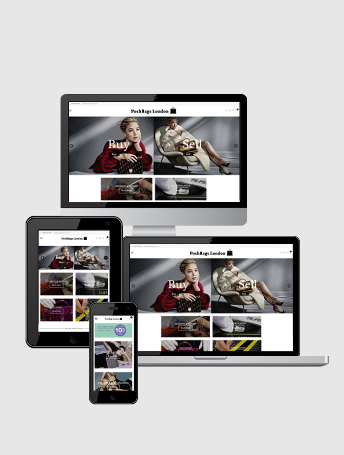 Posh Bags London Website On Responsive Devices